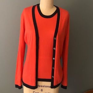 Coral and Navy Silk Cashmere Sweater Set